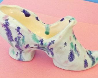 Vintage Glass Shoe, Shoe Slipper, Shoe Figurine, Pin Cushion, Flower Planter, Shoe Planter, Home Decor, Decorative Shoe, Collectible