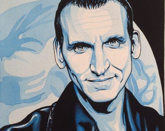 MINI Art Print of CHRISTOPHER ECCLESTON (Dr Who) from the original watercolour/gouache painting by Chris Naylor