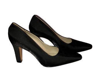 Vintage Nine West Black Satin Heels, Black Pumps