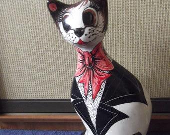 Ceramic Cat, Cat Art, Ceramic Elegant Dressed Cat Sculpture, Floor Big Cat Sculpture, Painted Sculpture of a Cat, Cat Statuette Cat Figurine