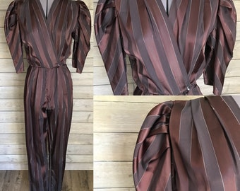 1980's Brown Striped Jumpsuit with Silver Metallic Pinstripes - Puffy Shoulders- Avon Fashions - Size Small -Glam Rock