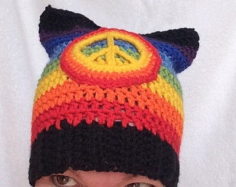 Rainbow Pussyhat for Baby to Adult/LGBTQ Pride Hat/Gay Pride Hat/Women Rights Hat//Pussyhat project/Rainbow Pussy Hat/LGBT Hat/Gay Pride Hat