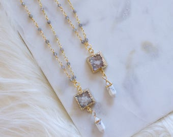 White Turquoise Crystal Point and Druzy Labradorite Beaded Necklace