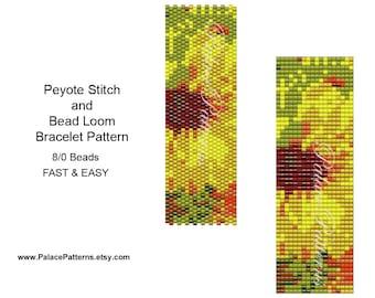 Peyote Stitch Bracelet Pattern 29 - Size 8/0 Seed Beads - Sunflower Bracelet Pattern for Bead Loom or Peyote Stitch