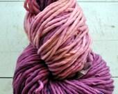 Handdyed Yarn, Thick n Thin, Bulky Yarn, Thick, Wool, Pink, Fuschia, Knitting, Gift, Yospun, Weaving, Crochet, Novelty, artisan, art yarn