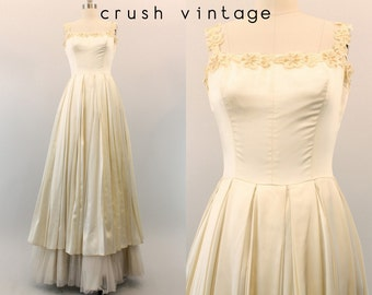 50s Satin Wedding Dress XS / 1950s Beaded Bridal Gown / The Isabella Dress