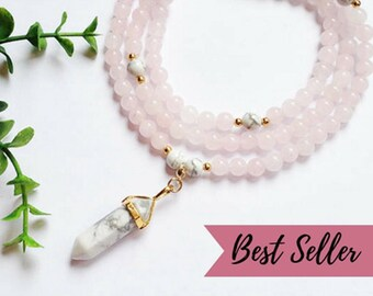 Rose Quartz mala • Mala beads 108 • Howlite necklace • Japa mala • Meditation jewelry • Yoga mala necklace • Zen gift for her • Mom yoga