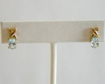 Aquamarine Glass Post Pierced Earrings