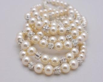 Set of 4 Ivory Pearl Bracelets, 4 Bridesmaid Bracelets, Cream Pearl and Rhinestone, Full Pearl Bracelet 0211