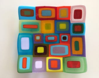 Large multi coloured retro fused glass dish, a fused glass bowl with a bright and colourful design