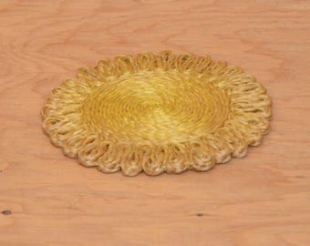 Vintage 70's Yellow Woven Straw Hot Pad Floral Like Look