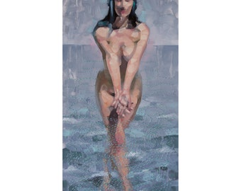 "Nude Figurative Oil Painting, Mermaid Painting with Hand Embroidery, Original Fine Art, Mixed Media Art - ""Low Tide"""