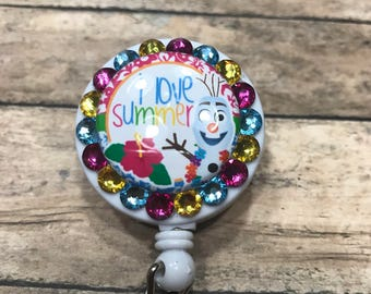 Retractable badge holder - badge reel - I love summer olaf - ID badge holder - badge