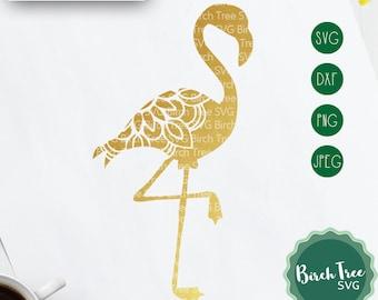 Flamingo Mandala SVG Cut File, Flamingo Zentangle Svg Boho SVG, Zentangle Animal Svg, Vinyl Decal Svg Cricut Silhouette png dxf jpeg svg