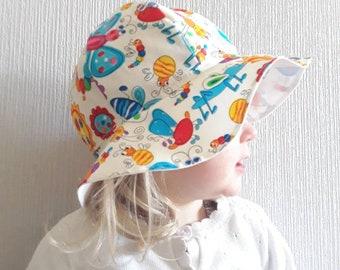 Girls Summer Bonnet, Girls Sun Hat, Child Bonnet  1-3 years, Summer Hat, Girls Bonnet, Sun Hat, Floppy Sun Hat, Childrens Sun Hat, Girls Hat
