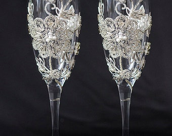 Wedding Glasses for Bride and Groom Toasting Flutes, Pearls Champagne Glasses, Vintage Champagne Flutes, Rhinestone 2pcs G4/11/12/16-0002