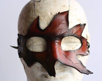 steampunk leather mask, leaf mask ,made to order