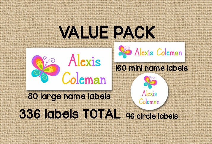Back to school 336 personalized waterproof dishwasher safe stickers value pack daycare school camp name labels butterfly