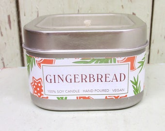 Gingerbread Soy Candle 8 oz. - Green Daffodil  - Handpoured - Siouxsan and Anne - C8
