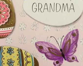 Vintage Easter Card Grandma Card 1950s Vintage Glittered Card