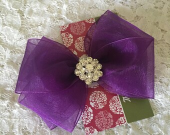 Purple Organza Hair Bow with Rhinestone Center, Sparkle Flower Girl Hair Bow, Baby Hair Bow, Purple Hair Bow, Pageant Hair bow