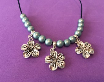 Flower Necklace, Handmade Antique Silver Flower Necklace, Blue Necklace