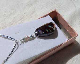 29 Carats Boulder Matrix Opal, Queensland Australia Opal, Hand Crafted Bail, Sterling Silver Chain