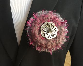 Gray and magenta brooch one of a kind handmade pin