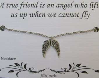 Best friend Necklace - Angel Wing Necklace and Quote Inspirational Card - Friendship Necklace - Friends Forever - Long Distance Friendship
