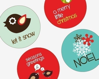 Adorable Christmas Critters - Funky Holiday - One (1x1) Inch (25mm) Round Pendant Images - Digital Sheet -Buy 2 Get 1 Free -Instant Download