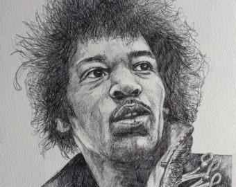 Jimi Hendrix Original Art - Ballpoint Portrait
