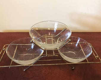 Vintage Set of Three Dipping Bowls With Holder