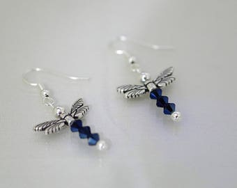 Swarovski Crystal Dragonfly Earrings -  Available in Most Colors - French Hooks, Leverbacks or Posts