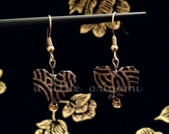 Heart Origami Earrings - Black and Gold Ripple