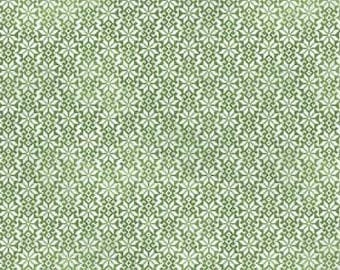 By The HALF YARD - Winter Celebration for Sandy Lynam Clough for Red Rooster, #25200-GRE1 Scandinavian Snowflake Pattern in White on Green