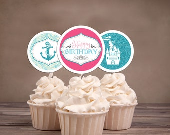 Princess and pirates Cupcake Toppers, Cupcake Toppers, birthday cupcake toppers, pirate toppers, princess toppers