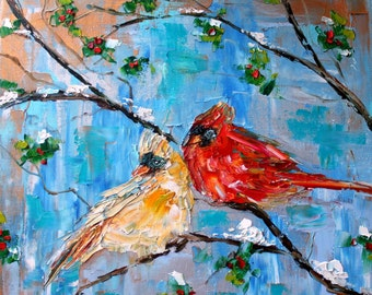 Fine art print Winter Cardinal Birds - made from image of past oil painting by Karen Tarlton - impressionistic palette knife modern art