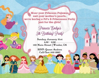 Princess Pajama Party Invite, Princess Pj invite, princess pj birthday, pajama party invite, princess pj theme, princess  -Digital File