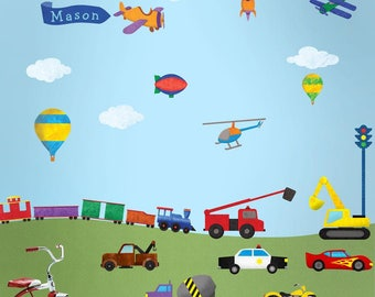 Transportation Wall Decals - Train, Construction, Car, Truck, Airplane Stickers for Boys Room - JUMBO SET