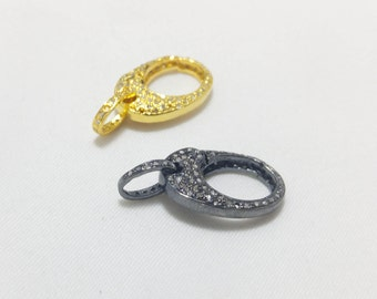 Cute Pave Diamond Shape Clasp for hanging Pendant - Gold Clasp - Oxidization clasp - 925 Sterling silver clasp - Two Side Diamond