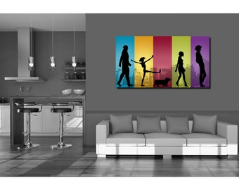 Anime Manga Cowboy Bebop Inspired Silhouette Design Wall Art Gift - High Quality Print on Poly-Matte Canvas 14inch x 8inch x 18mm