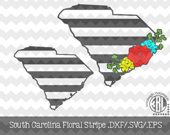 South Carolina Floral Stripe design INSTANT DOWNLOAD in dxf/svg/eps for use with programs such as Silhouette Studio and Cricut Design Space