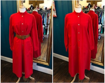1970s Red Cotton Vuokko Shirtwaister Dress Medium UK12 Pockets Marimekko