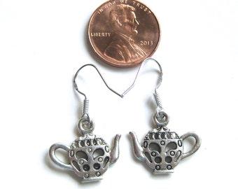 Tiny Teapot Earrings on Sterling Silver Ear Hooks