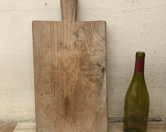 ANTIQUE VINTAGE FRENCH bread or chopping cutting board wood thick 07061820