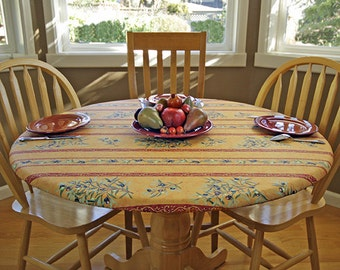"""Elasticized Round 41""""-50""""  Fitted Coated Tablecloth - Choose the Size & fabric - Umbrella Hole Available. French Provencal Waterproof Fabric"""