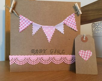 Vintage Baby Girl Card and Tag, New Baby Girl card.