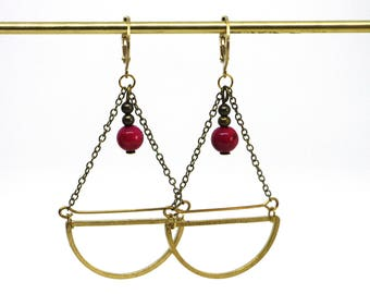 Brass and stone pendant earrings Leone