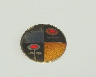 de Passille Sylvestre Enamel Gold Tone Flower Power Brooch Pin Modernist Bright Red Enamel Highlights Quebec Canada Signed 1970's Era