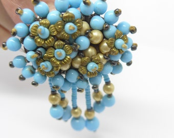 Vintage Turquoise Blue Glass Pearl Cluster Drop Brooch Pin
